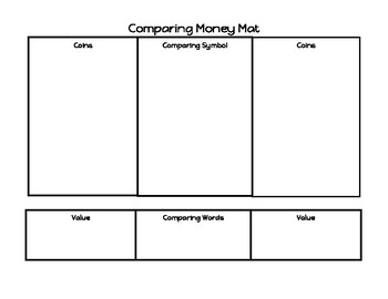 Comparing Money Work  Mat