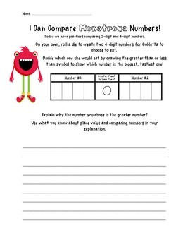 Comparing Monstrous Numbers Activity