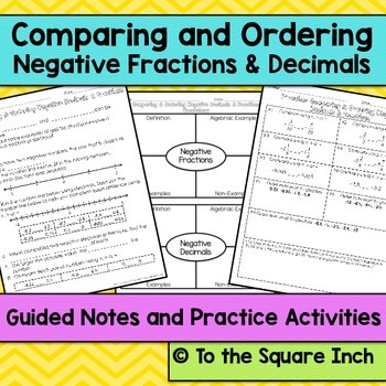 Negative Fractions and Decimals Notes
