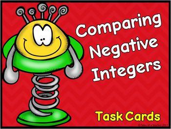 Comparing Negative Integers Task Cards