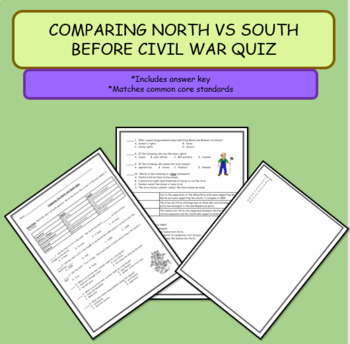 Comparing North Vs South Before Civil War Worksheet A By The