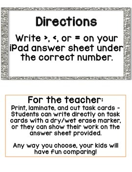 Comparing Number iPad Task Cards