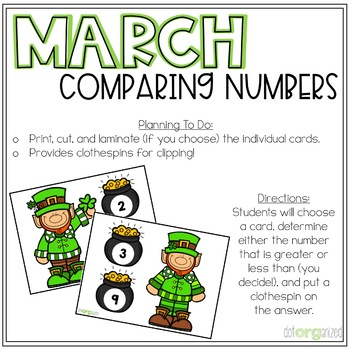 Comparing Numbers to 10 Clip It Kindergarten March Math Center