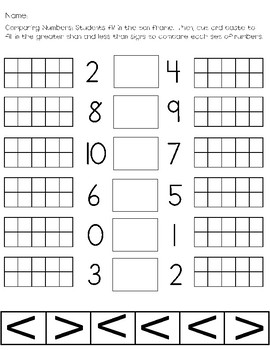 Comparing Numbers 0-10 with ten frames (Cut and Paste)