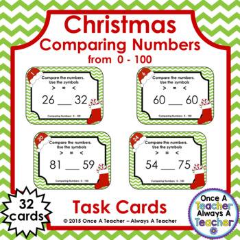 Comparing Numbers 0 - 100 • Christmas Task Cards