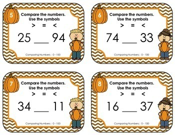 Comparing Numbers 0 - 100 • Fall Task Cards