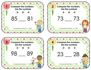 Comparing Numbers 0 - 1000 • Spring Task Cards