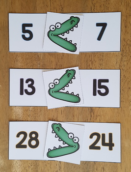 Comparing Numbers 0-30 Math Center {Gator Gulp}