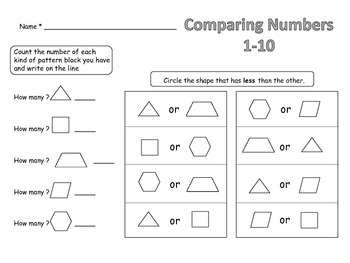 Comparing Numbers 1-10 Greater than Less than