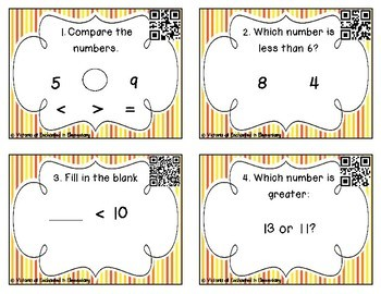 Comparing Numbers 1-20 Task Cards: 1st Grade CC: Number & Operations in Base Ten