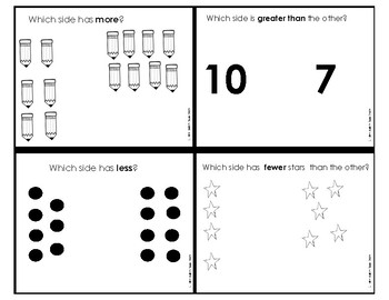 Comparing Numbers (1.NBT.B.3) more, less, greater than, fewer