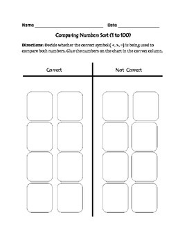 Comparing Numbers (1 to 100) : Cut, Sort, and Paste Activity