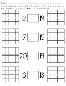 Comparing Numbers 11-20 Worksheets & Teaching Resources   TpT