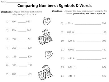 Comparing Three-Digit Numbers 2.NBT.4