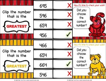 Comparing Numbers Task Cards: Comparing Three-Digit Numbers (2.NBT.4)