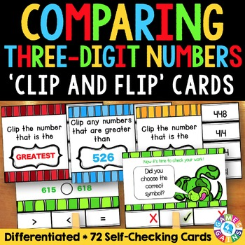 Comparing Numbers Task Cards: Comparing Three-Digit Number