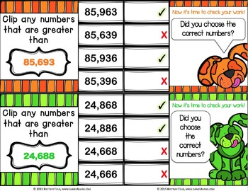 Comparing Numbers Task Cards: Comparing Whole Numbers Within One Million