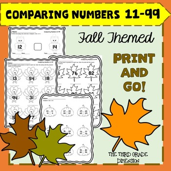 Thanksgiving Math Comparing 2 Digit Numbers