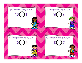 Comparing Numbers to 10 Task Cards K.CC.7