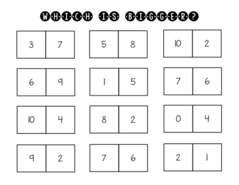 Comparing Numbers Center Worksheet