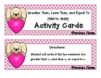 Comparing Numbers 999 to 1200 - Puppies and Hearts
