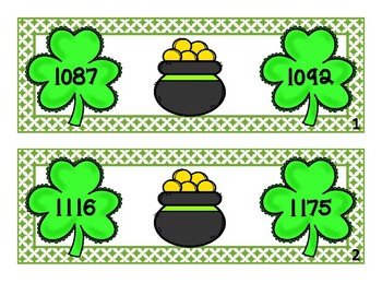Comparing Numbers 999 to 1200 - Shamrocks