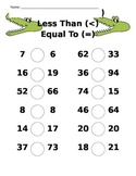 Comparing Numbers Alligator Worksheet - Greater Than, Less