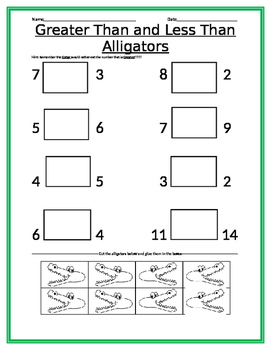 Comparing Numbers Basic cut and paste alligators