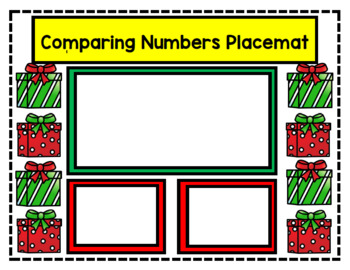 Comparing Numbers Christmas Cards and Placemat