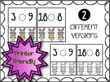 Comparing Numbers Clip Cards - Spring Bunny (Greater, Less, Equal to)