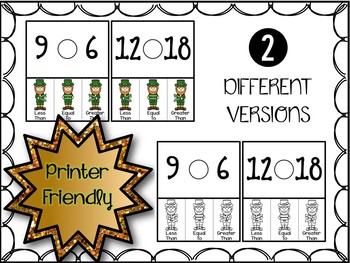 Comparing Numbers Clip Cards - St. Patrick's Day (Greater, Less, Equal to)