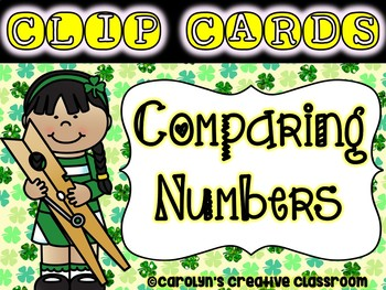 Comparing Numbers Clip Cards - St. Patrick's Day (Greater,