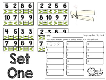 Greater Gator: Comparing Numbers Clip Cards Station