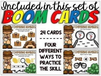 Comparing Numbers Task Cards Digital BOOM Cards for 2nd