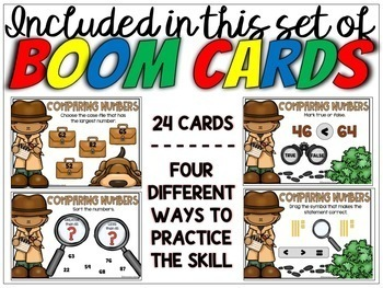 Comparing Numbers Task Cards Digital BOOM Cards for 1st