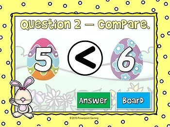 Comparing Numbers - Easter Edition - Teacher vs Student Powerpoint Game