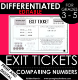 Comparing Numbers Exit Tickets - Differentiated Math Asses