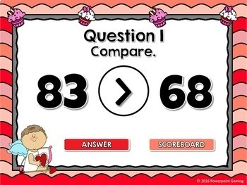Comparing Numbers - Find the Cupid PPT Game - Valentine's Day Edition