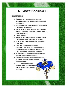Comparing Numbers Football