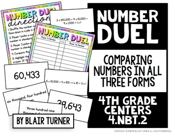 Comparing Numbers Game: 4th Grade Math Centers 4.NBT.2