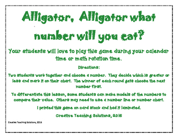 Comparing Numbers Game- Alligator, Alligator, what will you eat?