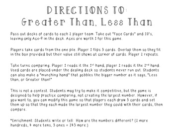 Comparing Numbers Game, Greater Than Less Than, Math in Focus, Singapore Math