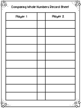 3rd and 4th Grade Comparing and Ordering Numbers Game and Record Sheet