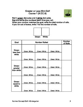 Comparing Numbers Golf Games for Kindergarten