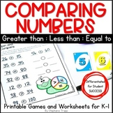 Comparing Numbers Games and Worksheets for Kindergarten and First Grade