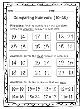 Comparing Numbers - Greater Than, Less Than, Equal - Worksheets and Centers