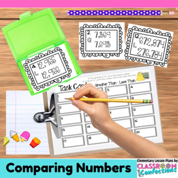 4th Grade Math: Comparing Numbers Task Cards