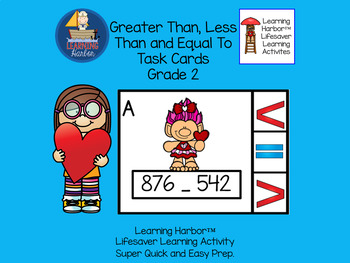 Comparing Numbers Greater Than, Less Than and Equal To  Task Cards Grade 2