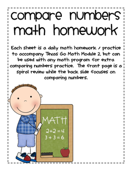 Comparing Numbers Homework