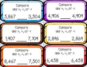 Comparing Numbers (Hundreds, Thousands, and Ten Thousands) Task Cards